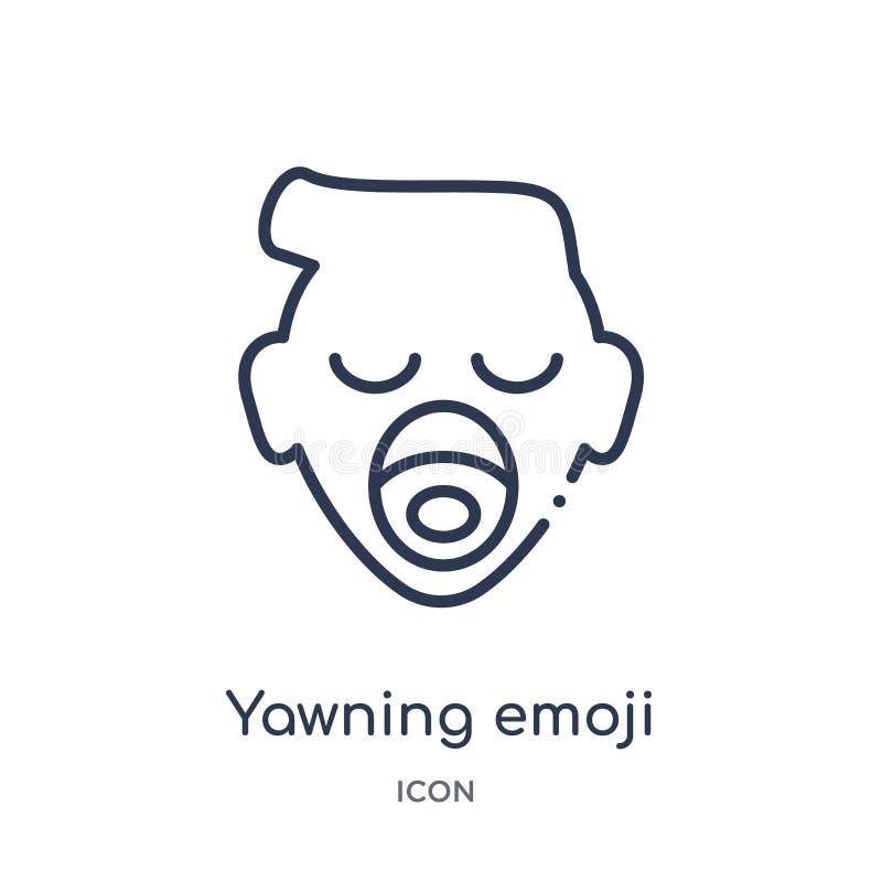 Линейный зевая значок emoji от собрания плана Emoji Тонкая линия зевая вектор emoji изолированный на белой предпосылке зевать иллюстрация вектора