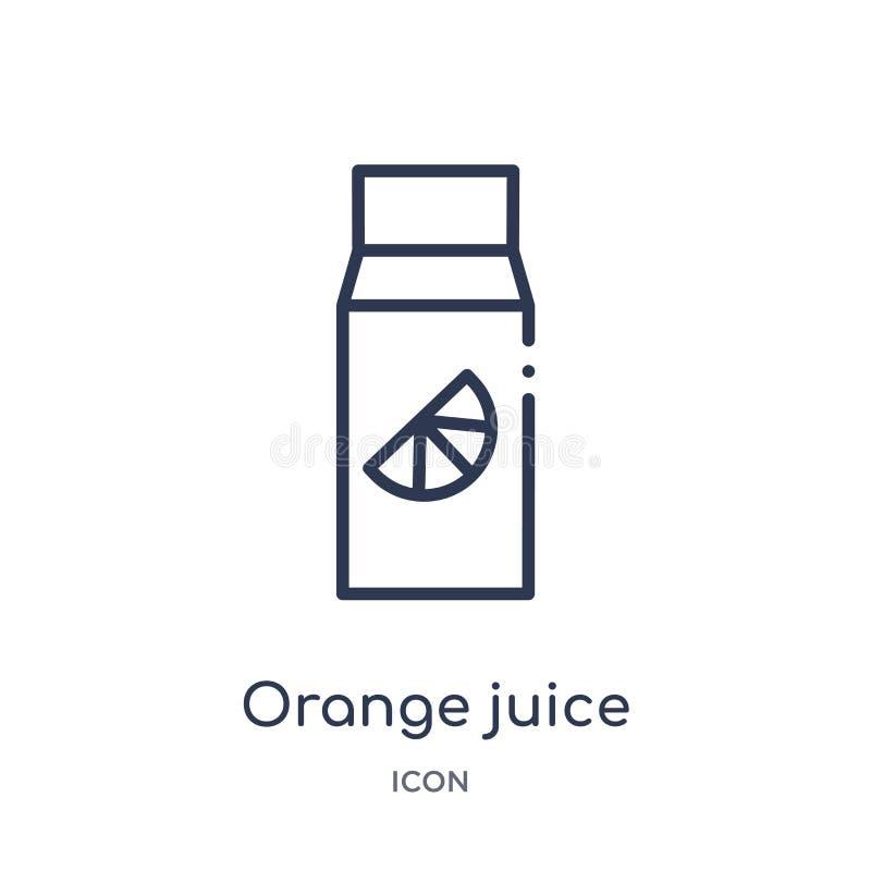 Линейный значок апельсинового сока от собрания плана здоровья Тонкая линия значок апельсинового сока изолированный на белой предп иллюстрация штока