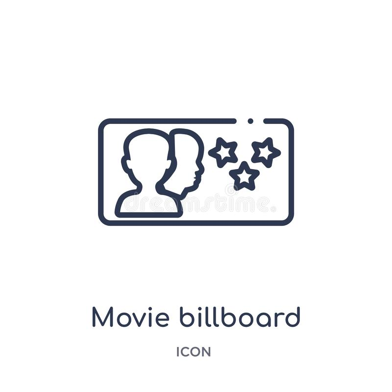 Линейный значок афиши фильма от собрания плана кино Тонкая линия вектор афиши фильма изолированный на белой предпосылке кино иллюстрация штока