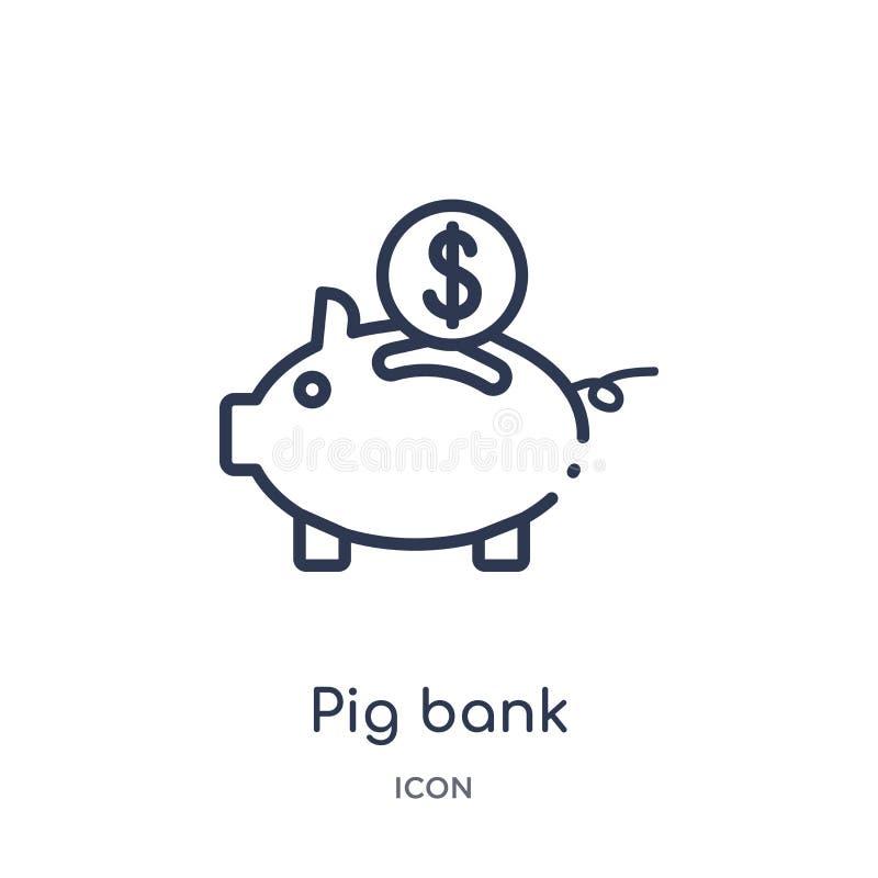 Линейный значок банка свиньи от выходя на рынок собрания плана Тонкая линия значок банка свиньи изолированный на белой предпосылк иллюстрация штока