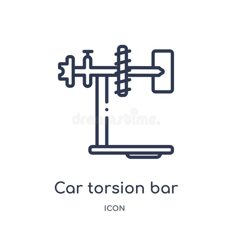 Линейный значок бара кручения автомобиля от собрания плана частей автомобиля Тонкая линия вектор бара кручения автомобиля изолиро иллюстрация вектора