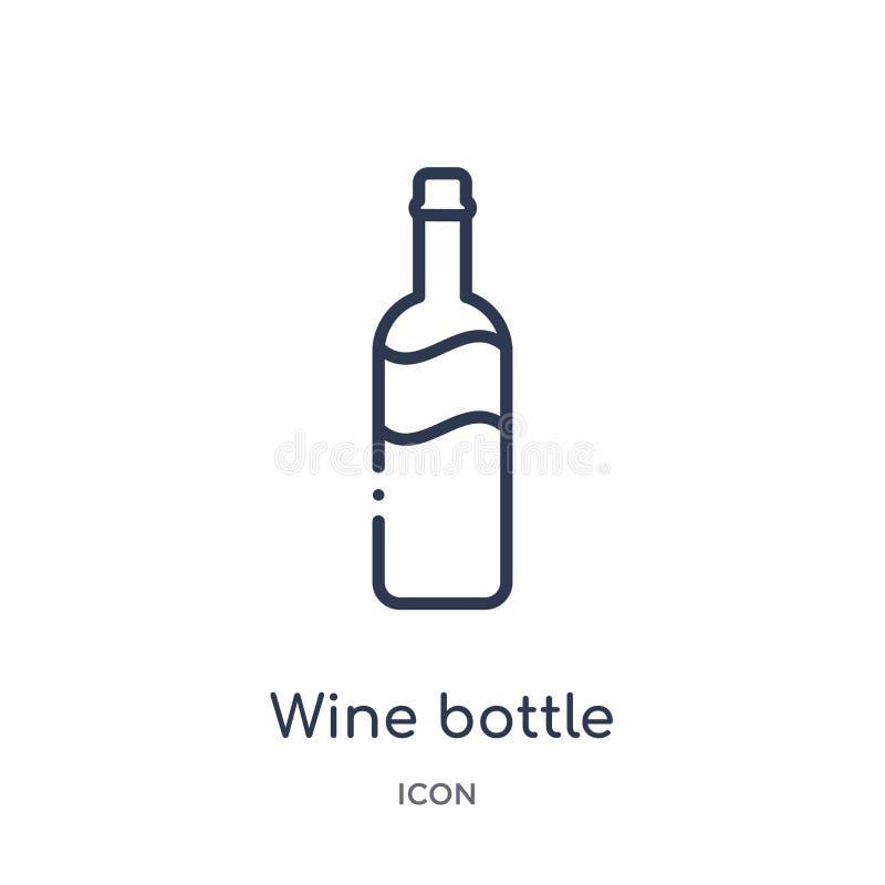 Линейный значок бутылки вина от собрания плана кухни Тонкая линия значок бутылки вина изолированный на белой предпосылке вино шка бесплатная иллюстрация