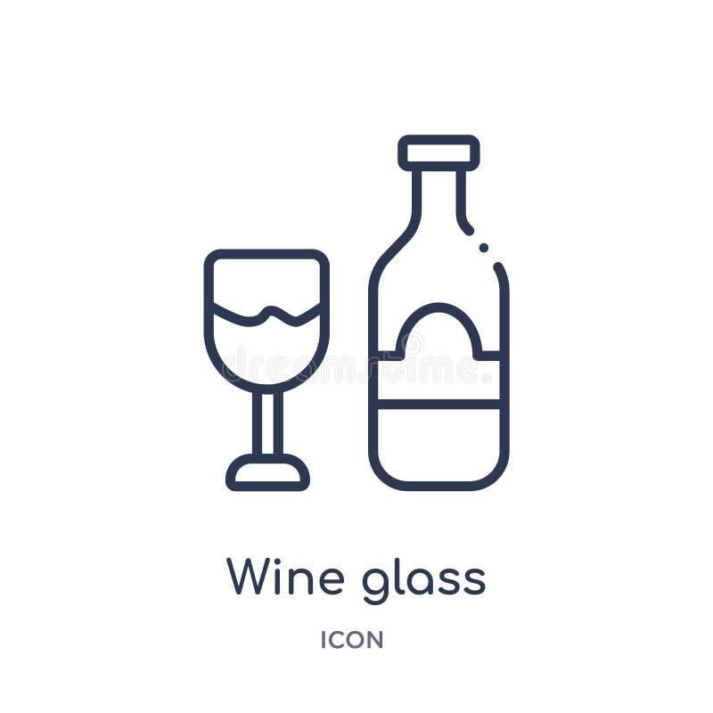 Линейный значок бокала от собрания плана гостиницы и ресторана Тонкая линия значок бокала изолированный на белой предпосылке Вино иллюстрация штока