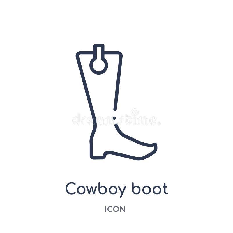 Линейный значок ботинка ковбоя от собрания плана пустыни Тонкая линия вектор ботинка ковбоя изолированный на белой предпосылке Бо иллюстрация штока