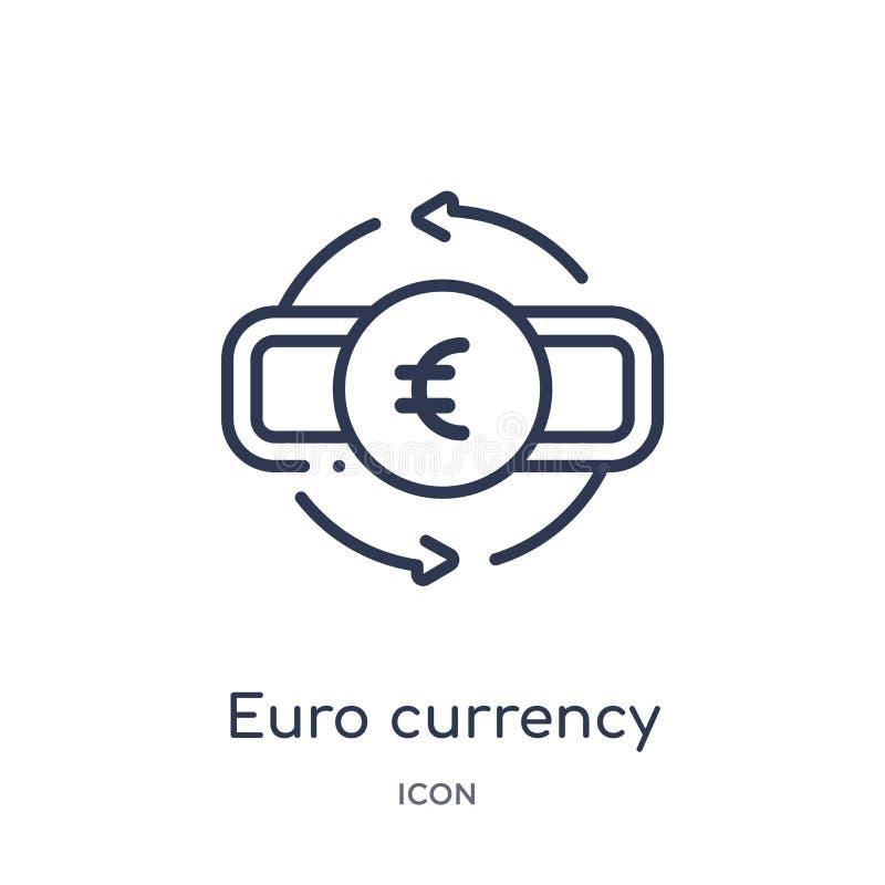 Линейный значок валюты евро от собрания плана коммерции Тонкая линия значок валюты евро изолированный на белой предпосылке Евро иллюстрация вектора