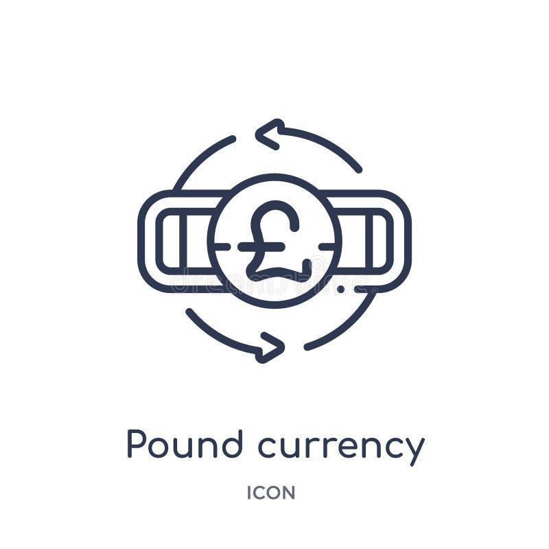 Линейный значок валюты фунта от собрания плана коммерции Тонкая линия значок валюты фунта изолированный на белой предпосылке фунт иллюстрация вектора