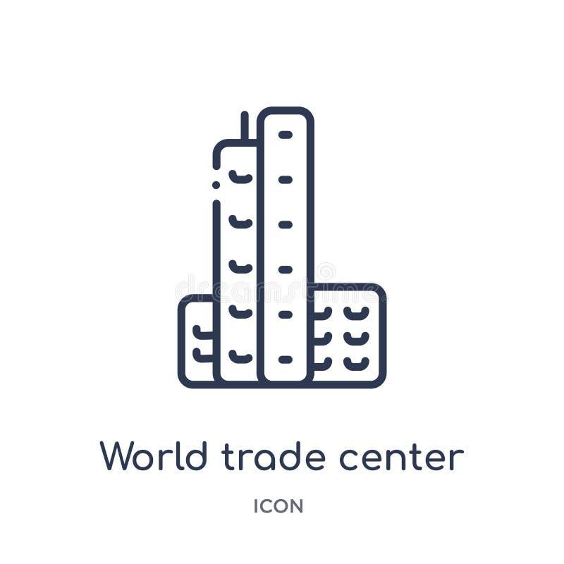 Линейный значок всемирного торгового центра от собрания плана зданий Тонкая линия вектор всемирного торгового центра изолированны бесплатная иллюстрация