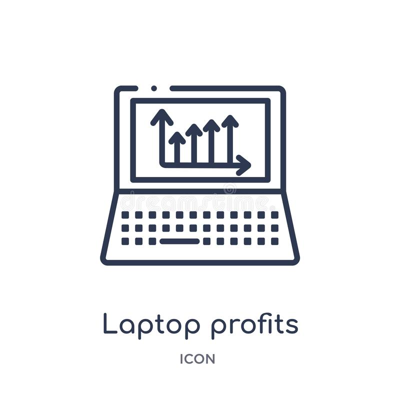 Линейный значок графиков выгод ноутбука от собрания плана дела и аналитика Тонкая линия вектор графиков выгод ноутбука иллюстрация штока
