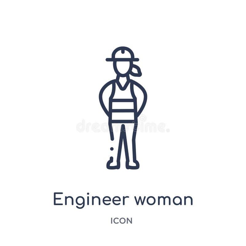 Линейный значок женщины инженера от собрания плана дам Тонкая линия значок женщины инженера изолированный на белой предпосылке Ин иллюстрация штока