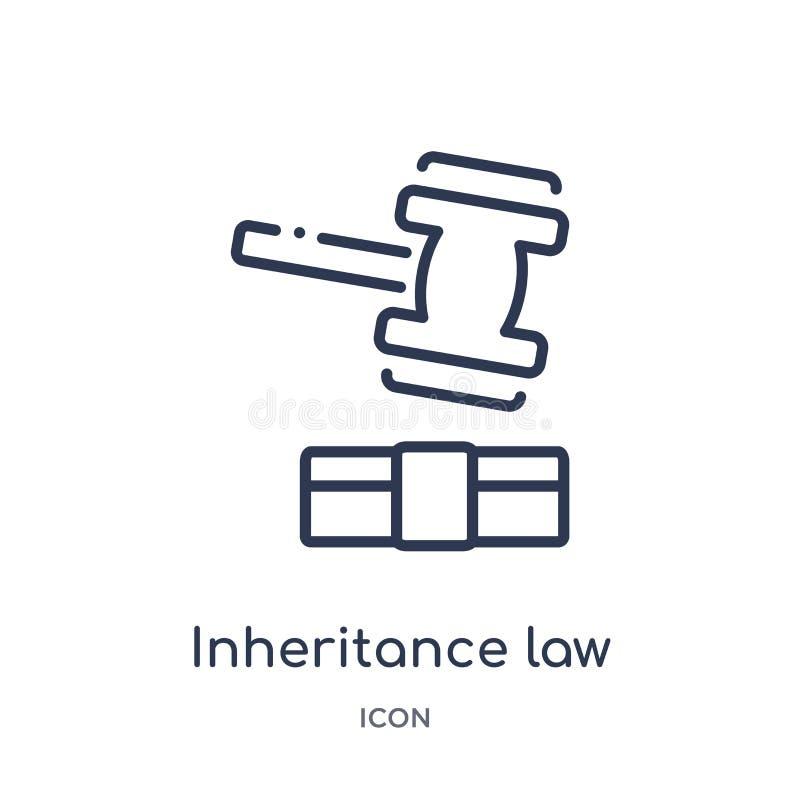 Линейный значок закона унаследования от собрания плана закона и правосудия Тонкая линия значок закона унаследования изолированный иллюстрация вектора