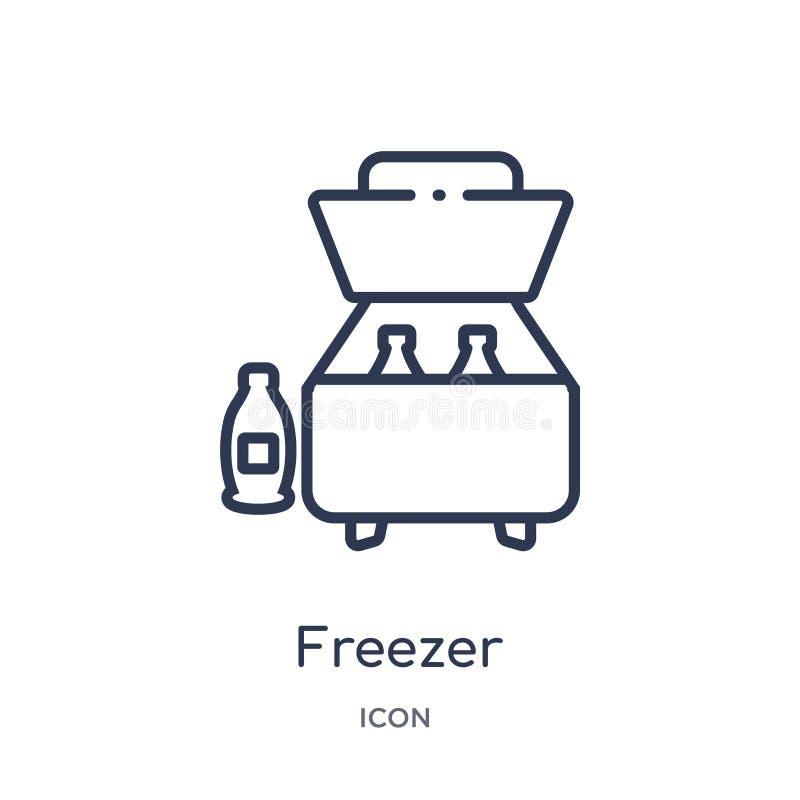 Линейный значок замораживателя от располагаясь лагерем собрания плана Тонкая линия вектор замораживателя изолированный на белой п иллюстрация штока