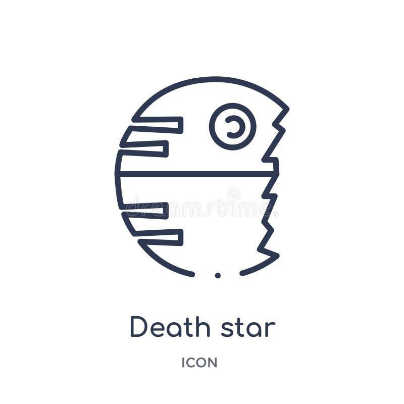 Линейный значок звезды смерти от собрания плана астрономии Тонкая линия вектор звезды смерти изолированный на белой предпосылке з иллюстрация вектора