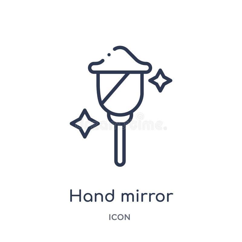 Линейный значок зеркала руки от собрания плана красоты Тонкая линия вектор зеркала руки изолированный на белой предпосылке Зеркал иллюстрация вектора