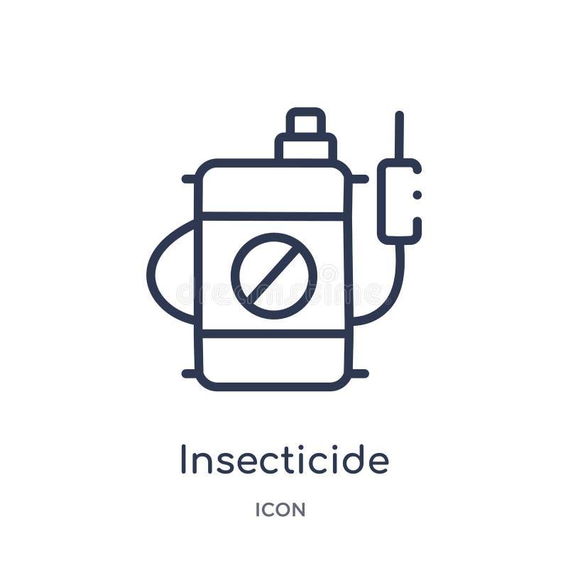 Линейный значок инсектицида от сельского хозяйства земледелия и садовничая собрания плана Тонкая линия вектор инсектицида изолиро бесплатная иллюстрация