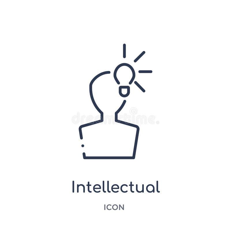 Линейный значок интеллектуальной собственности от собрания плана закона и правосудия Тонкая линия значок интеллектуальной собстве иллюстрация вектора