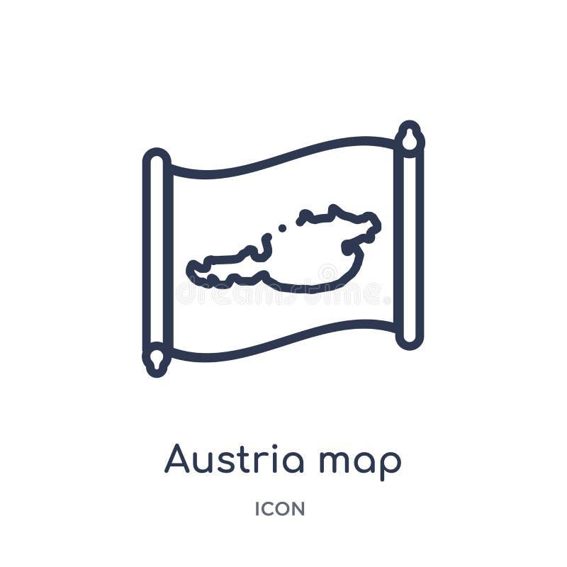 Линейный значок карты Австрии от собрания плана Countrymaps Тонкая линия вектор карты Австрии изолированный на белой предпосылке  бесплатная иллюстрация