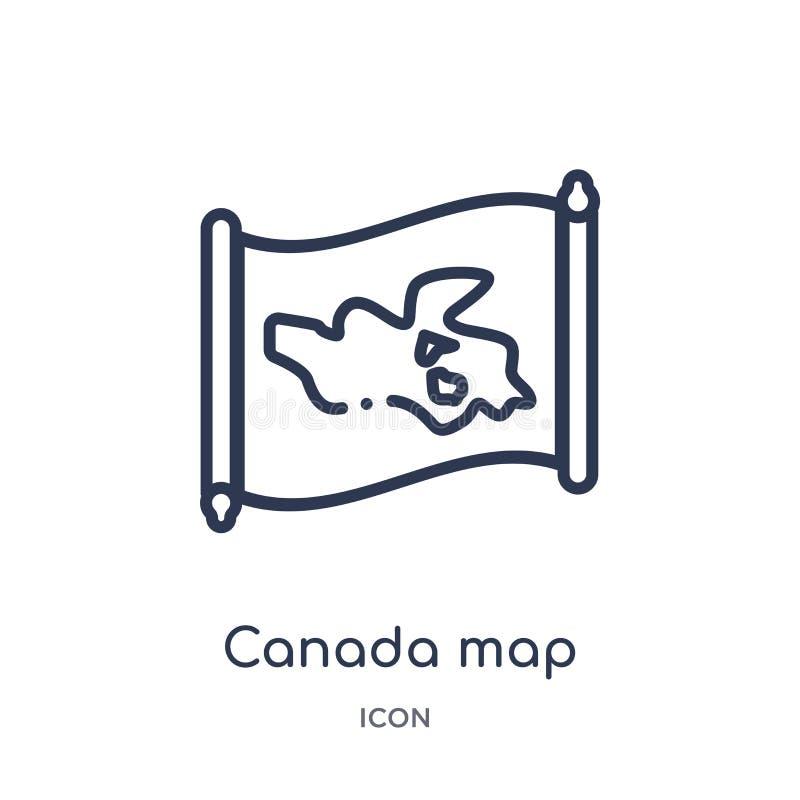 Линейный значок карты Канады от собрания плана Countrymaps Тонкая линия вектор карты Канады изолированный на белой предпосылке ка иллюстрация вектора