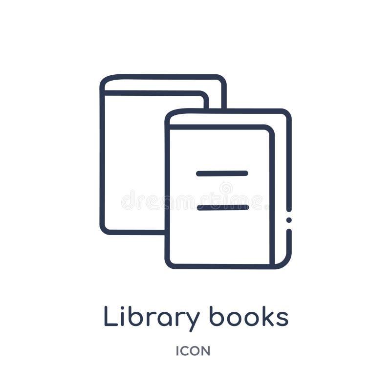 Линейный значок книг библиотеки от собрания плана образования Тонкая линия значок книг библиотеки изолированный на белой предпосы бесплатная иллюстрация