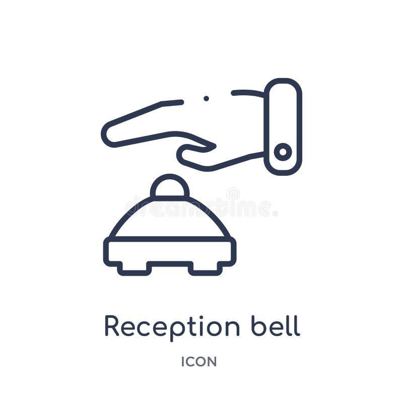 Линейный значок колокола приема от собрания плана гостиницы и ресторана Тонкая линия значок колокола приема изолированный на бели иллюстрация вектора