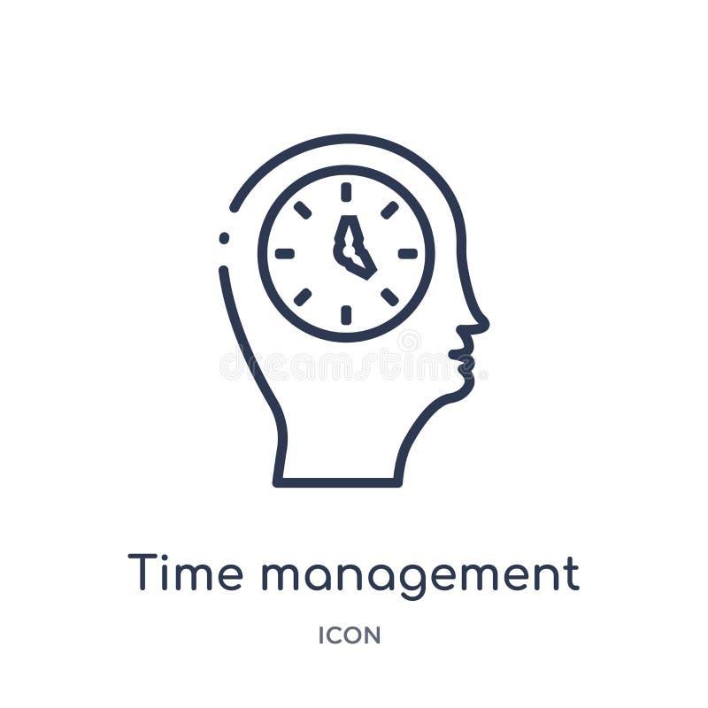 Линейный значок контроля времени от собрания плана процесса мозга Тонкая линия вектор контроля времени изолированный на белой пре иллюстрация вектора