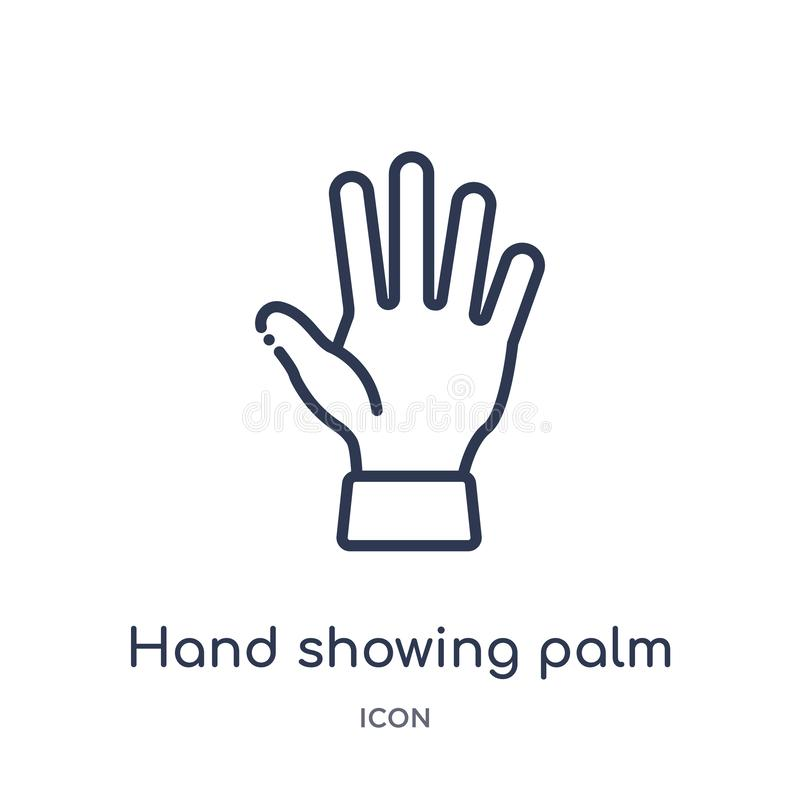 Линейный значок ладони показа руки от человеческого собрания плана частей тела Тонкая линия значок ладони показа руки изолированн иллюстрация вектора