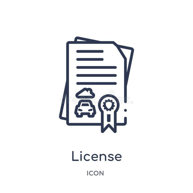 Линейный значок лицензии от собрания плана страхования Тонкая линия значок лицензии изолированный на белой предпосылке лицензия у иллюстрация вектора