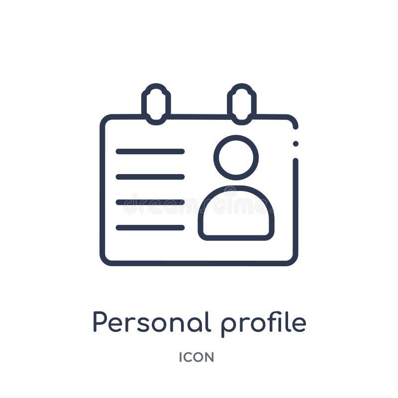 Линейный значок личного профиля от собрания плана человеческих ресурсов Тонкая линия значок личного профиля изолированный на бело иллюстрация штока