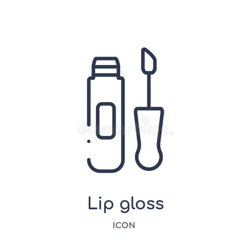 Линейный значок лоска губы от собрания плана красоты Тонкая линия вектор лоска губы изолированный на белой предпосылке лоск губы  иллюстрация штока