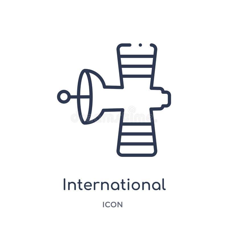 Линейный значок международной космической станции от собрания плана астрономии Тонкая линия вектор международной космической стан иллюстрация вектора