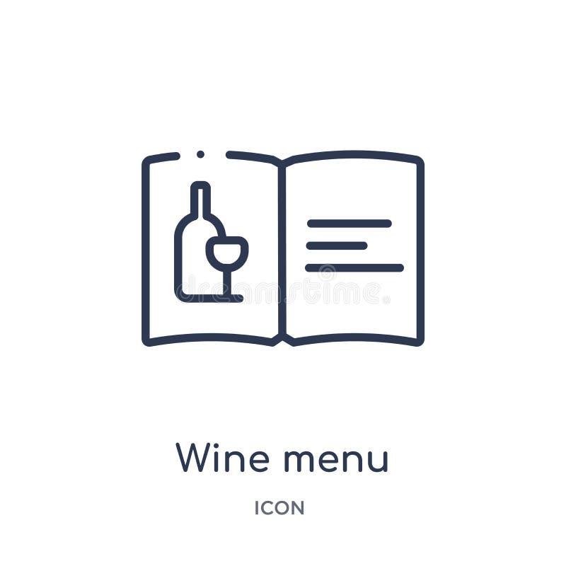 Линейный значок меню вина от собрания плана гостиницы и ресторана Тонкая линия значок меню вина изолированный на белой предпосылк иллюстрация штока