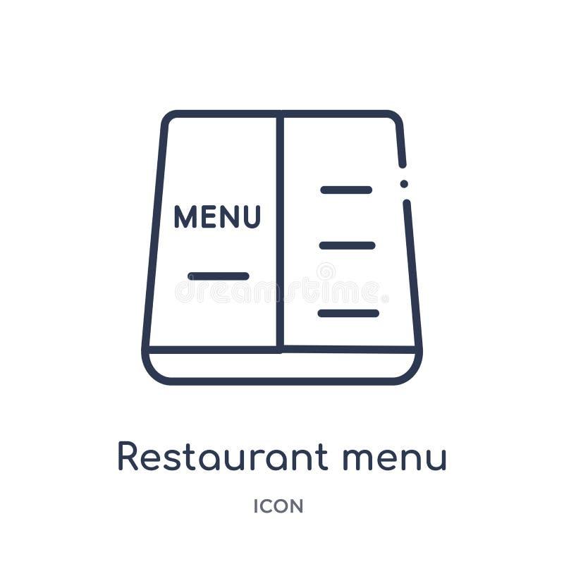 Линейный значок меню ресторана от собрания плана еды Тонкая линия значок меню ресторана изолированный на белой предпосылке Рестор бесплатная иллюстрация