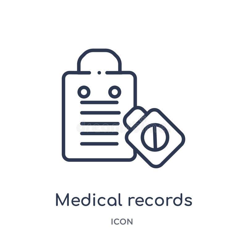 Линейный значок медицинских историй от медицинского собрания плана Тонкая линия значок медицинских историй изолированный на белой иллюстрация вектора