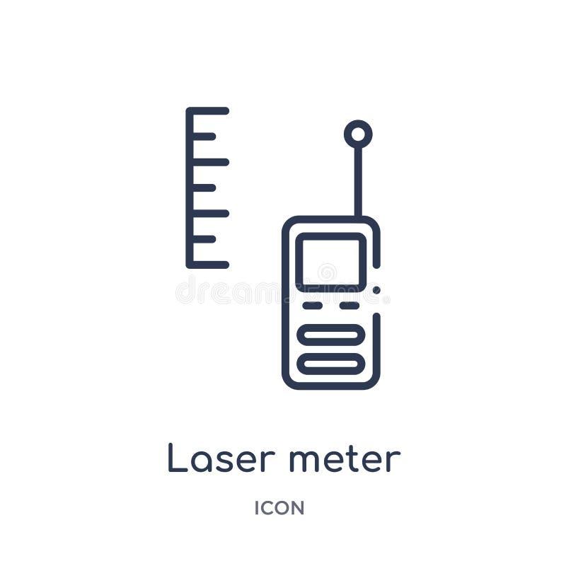 Линейный значок метра лазера от собрания плана измерения Тонкая линия значок метра лазера изолированный на белой предпосылке Метр иллюстрация вектора