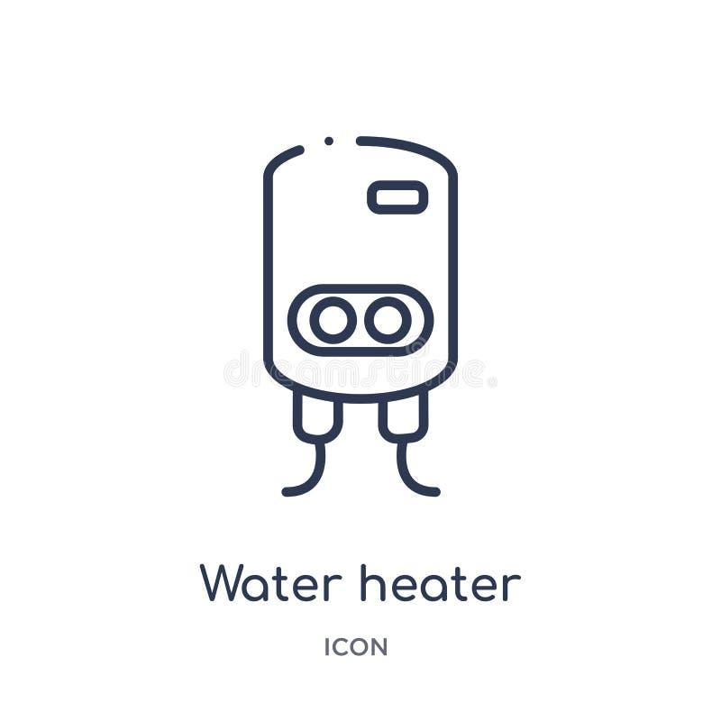 Линейный значок нагревателя воды от собрания плана гигиены Тонкая линия значок нагревателя воды изолированный на белой предпосылк иллюстрация штока