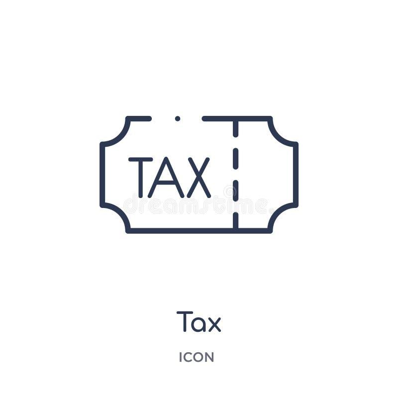 Линейный значок налога от собрания плана Ecommerce и оплаты Тонкая линия вектор налога изолированный на белой предпосылке налог у иллюстрация вектора