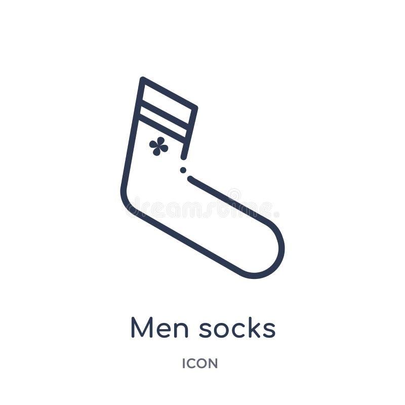Линейный значок носков людей от собрания плана одежд Тонкая линия вектор носков людей изолированный на белой предпосылке носки лю бесплатная иллюстрация