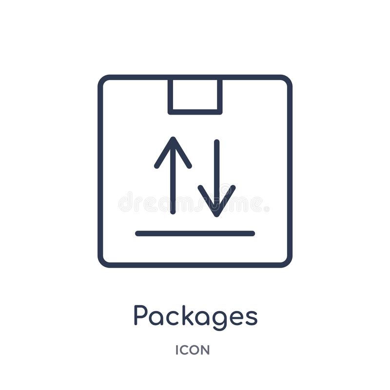 Линейный значок пакетов от доставки и логистического собрания плана Тонкая линия вектор пакетов изолированный на белой предпосылк иллюстрация вектора