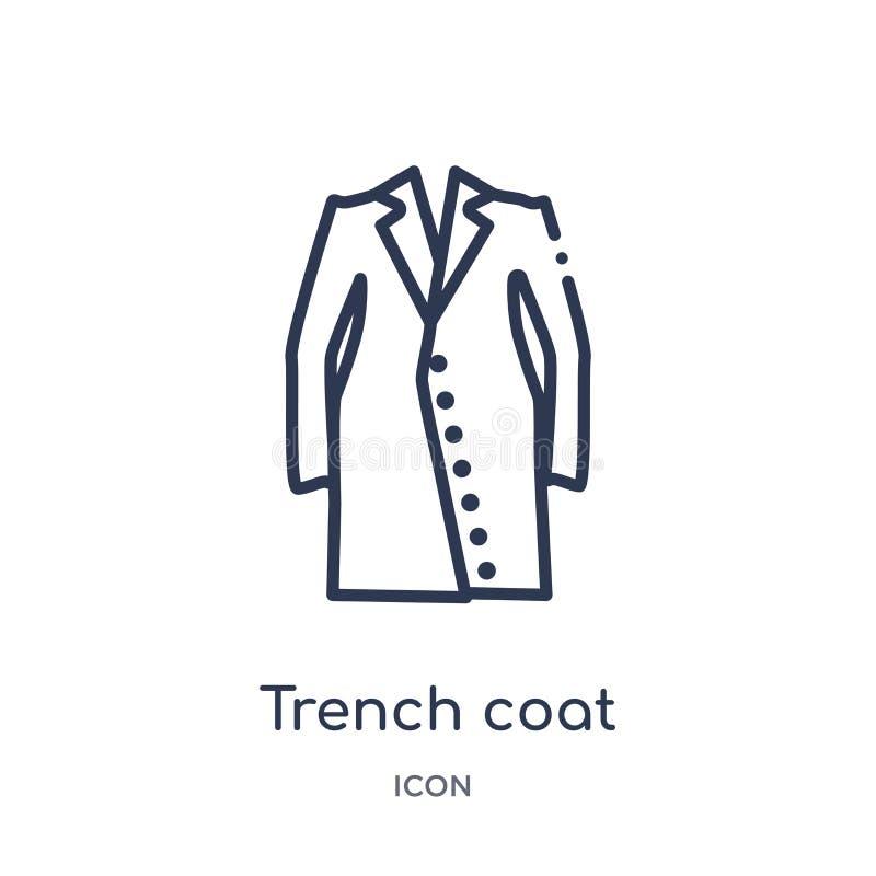 Линейный значок пальто канавы от собрания плана одежд Тонкая линия вектор пальто канавы изолированный на белой предпосылке Пальто бесплатная иллюстрация