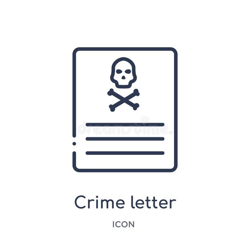Линейный значок письма преступления от собрания плана закона и правосудия Тонкая линия значок письма преступления изолированный н бесплатная иллюстрация