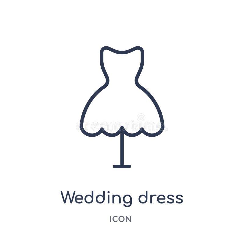 Линейный значок платья свадьбы от собрания плана дня рождения Тонкая линия вектор платья свадьбы изолированный на белой предпосыл иллюстрация вектора