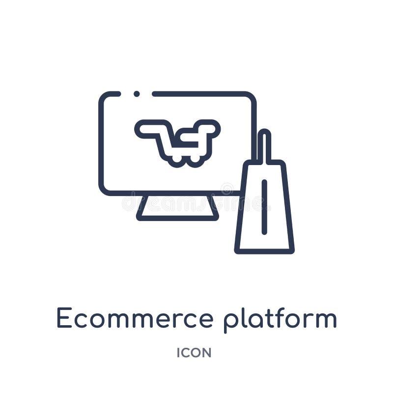 Линейный значок платформы ecommerce от собрания общего плана Тонкая линия значок платформы ecommerce изолированный на белой предп иллюстрация штока