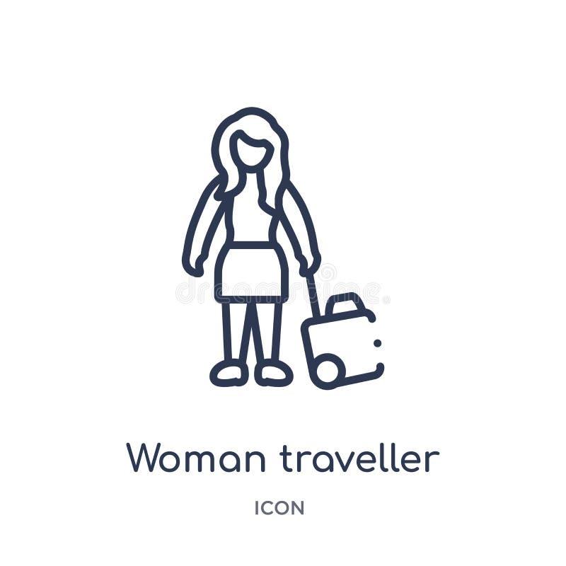Линейный значок путешественника женщины от собрания плана дам Тонкая линия значок путешественника женщины изолированный на белой  иллюстрация штока
