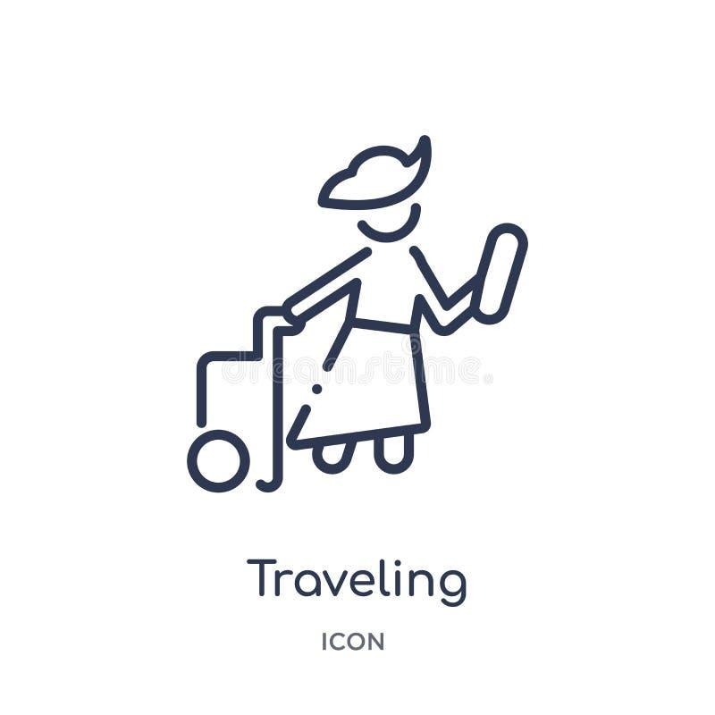 Линейный значок путешествовать от собрания плана свободного времени Тонкая линия путешествуя вектор изолированный на белой предпо бесплатная иллюстрация