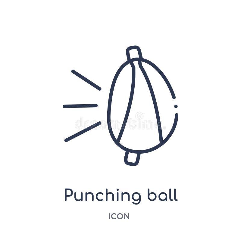 Линейный значок пробивая шарика от собрания плана оборудования спортзала Тонкая линия значок пробивая шарика изолированный на бел иллюстрация вектора
