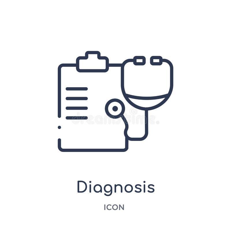 Линейный значок диагноза от медицинского собрания плана Тонкая линия значок диагноза изолированный на белой предпосылке диагноз у иллюстрация вектора