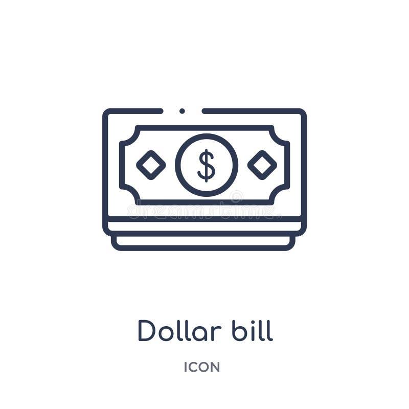 Линейный значок долларовой банкноты от собрания плана Ecommerce и оплаты Тонкая линия вектор долларовой банкноты изолированный на иллюстрация штока