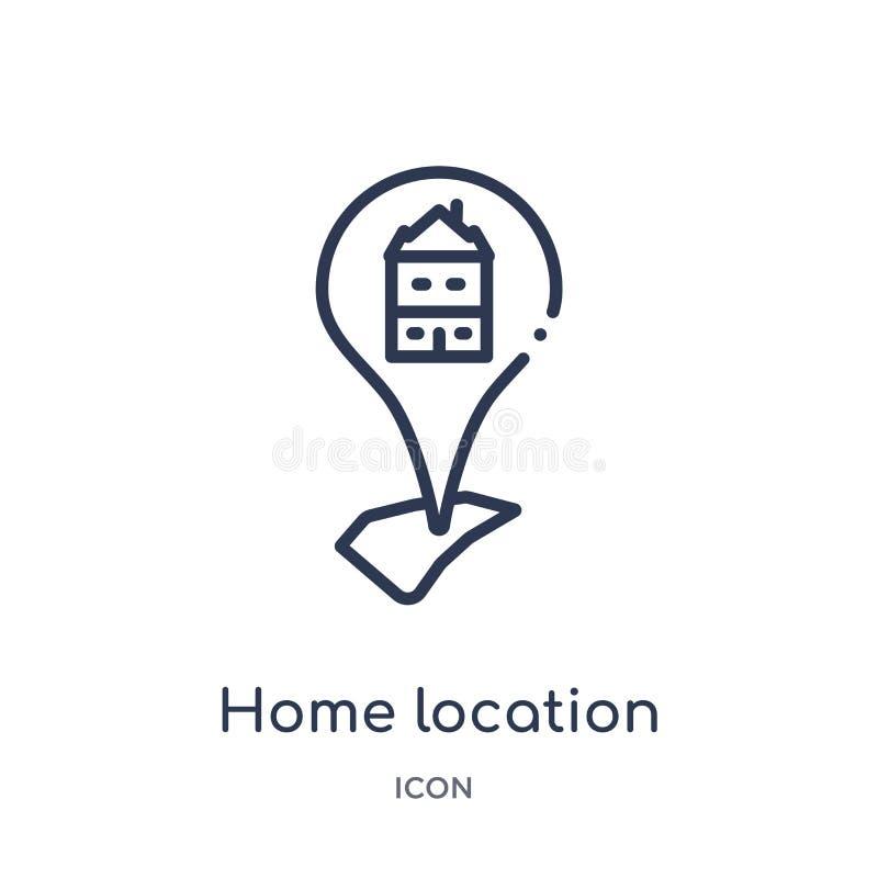 Линейный значок домашнего местоположения от собрания плана карт и положений Тонкая линия значок домашнего местоположения изолиров бесплатная иллюстрация
