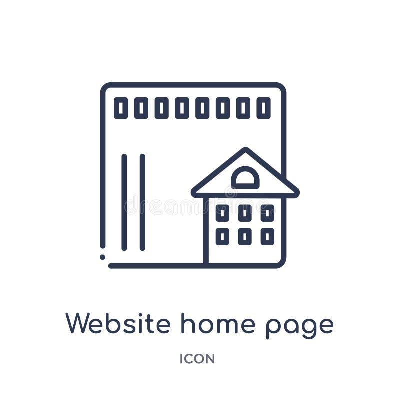 Линейный значок домашней страницы вебсайта от собрания плана зданий Тонкая линия значок домашней страницы вебсайта изолированный  иллюстрация вектора