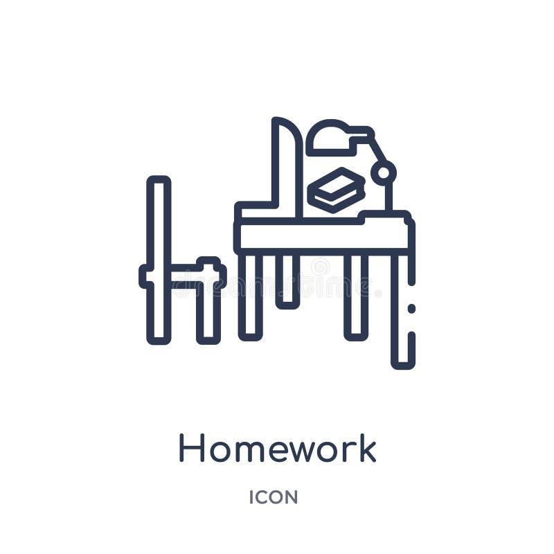 Линейный значок домашней работы от собрания плана Elearning и образования Тонкая линия вектор домашней работы изолированный на бе бесплатная иллюстрация