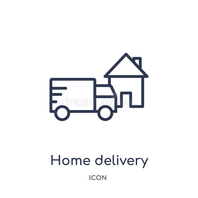 Линейный значок доставки на дом от собрания плана доставки и снабжения Тонкая линия вектор доставки на дом изолированный на белиз иллюстрация вектора